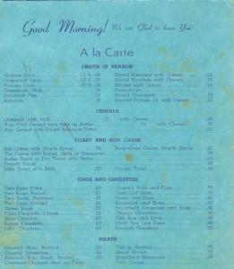 Bame Dining Room Menu 1941