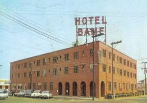 This postcard shows the Hotel Bame rebuilt after the 1940 fire. It had 80 rooms, 65 with their own bath. This hotel and its predecessors were located on what is now the vacant lot between the Marriott and the Gazebo.