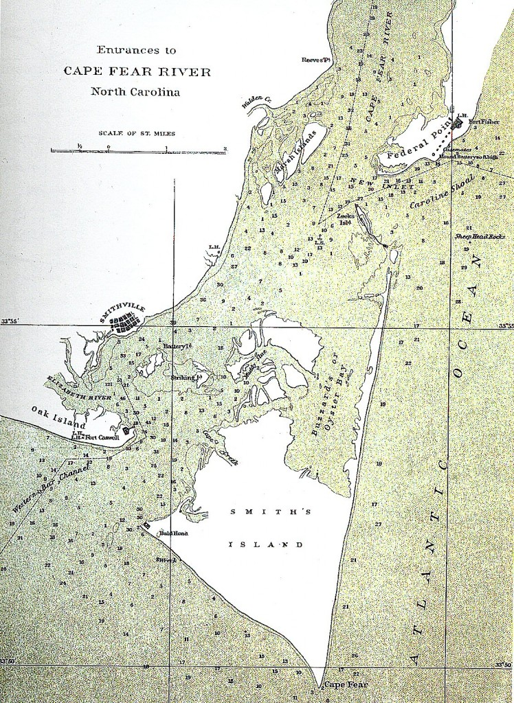 New Inlet as recorded in Civil War mapping records, 1864 (Cowles, Davis, Perry, & In 1871, Kirkley, 1895)